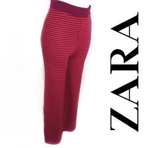 NWT Zara Knit High-Rise Wide Leg Jacquard Pants, S